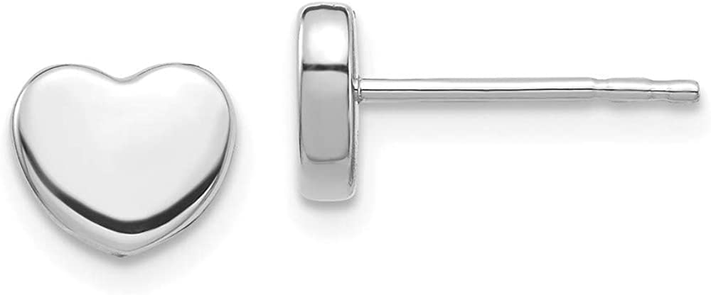 14k White Gold Heart Post Stud Earrings Ball Button Love Fine Jewelry For Women Gifts For Her