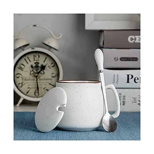 XDQ Taza de café de cerámica Taza de té con Tapa y Cuchara de Acero Inoxidable, Taza de Lujo de Estilo Europeo, Color de café de Color sólido Simple, cadmio sin Plomo (Color : White)