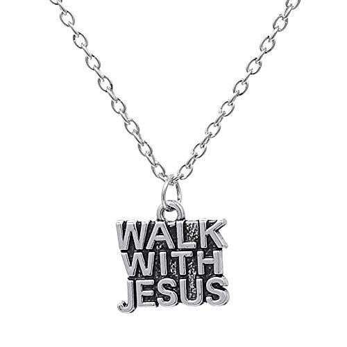 Alushisland Walk with Jesus Word Charm Pendant Jesus Piece Christian Necklace Antique Silver Plated Statement Necklace