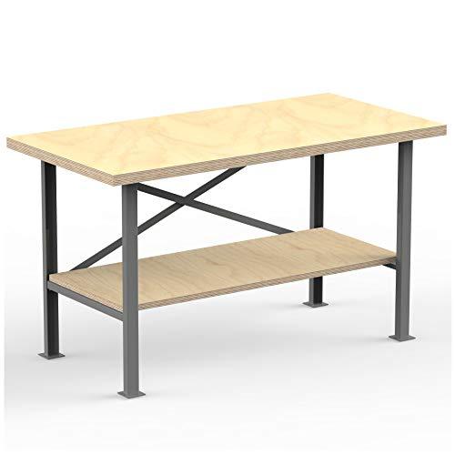 AUPROTEC Profi-Werkbank 1500 x 600 x 850 mm mit Multiplex-Platte 40mm - Werkbankplatte Massiv Multiplex Holz - Industriequalität