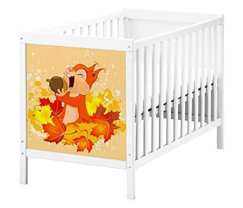 Set Möbelaufkleber für Ikea SUNDVIK Babybett Kinderzimmer Cartoon Eichhörnchen Kat2 Eichel Herbst Wald Nuss Blätter bunt SU1 Aufkleber Möbelfolie sticker (Ohne Möbel) Folie 25T2564