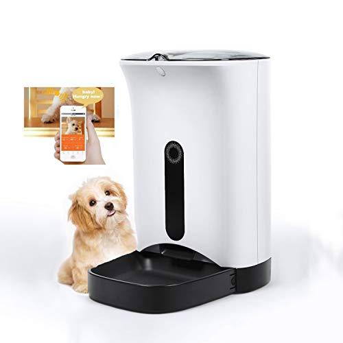 X&hui Voederautomaat voor huisdieren, WiFi 4.3L Catering, met LCD-display, geschikt voor katten en kleine en middelgrote honden, voederautomaat