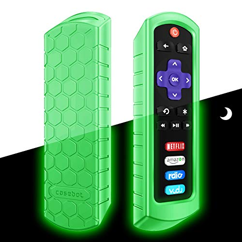 Fintie Protective Case for Roku Steaming Stick 3600R, TCL Roku TV RC280 Remote - CaseBot (Honey Comb Series) Light Weight (Anti Slip) Shock Proof Silicone Remote Controller Cover, Green Glow