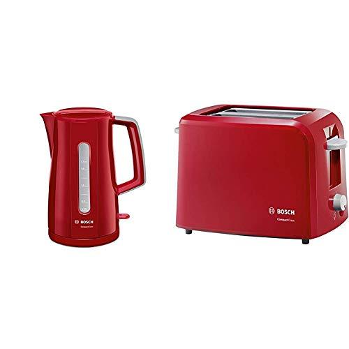 Bosch TWK3A014 - Hervidor de agua, 2400 W, Color Rojo + TAT3A014 Compact Class - Tostador, 980 W, dos ranuras extra anchas, bandeja recogemigas, rojo