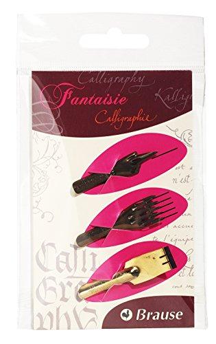 Brause 16504B Kalligraphie-Set (Blisterpackung 3 Schreibfedern, Fantasy, sortiert)