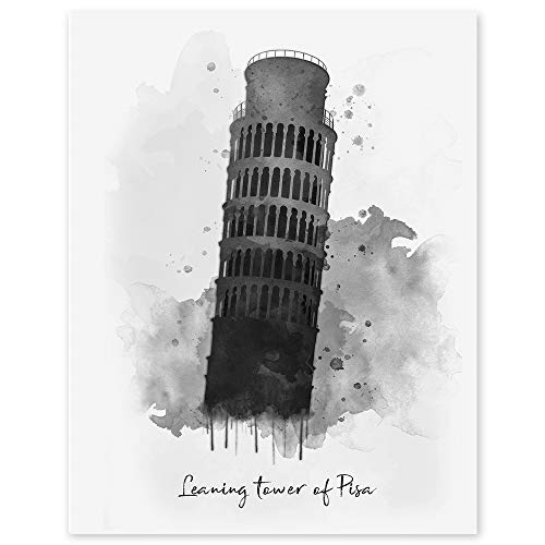Leaning Tower of Pisa- Italy Watercolor Wall Print - 11 x 14 Unframed Print - Designed for World Travelers - Travel Agent Office Wall Decor - Bell Tower Landmark