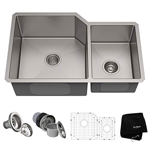 KRAUS Standart PRO 32-inch 16 Gauge Undermount 60/40 Double Bowl Stainless Steel Kitchen Sink, KHU123-32