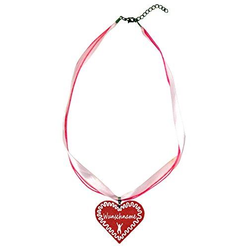 benobler Trachtenschmuck Trachtenkette Organzaband rosa mit Filz Herz Damen Dirndlkette Organzakette Oktoberfest Wunschaufdruck (Herz - rot)