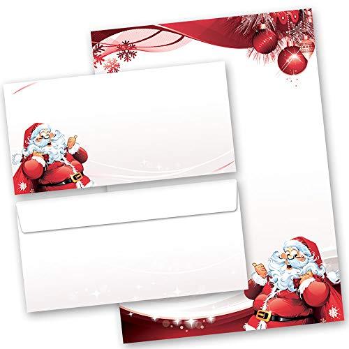 20 pezzi Set completo Natale, LETTERA A BABBO NATALE 10 fogli di carta da lettera e 10 buste DIN LANG (senza finestra) | Paper-Media