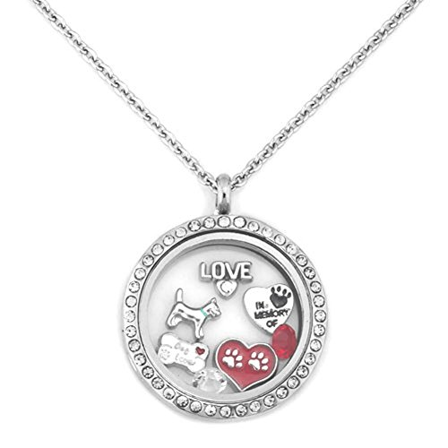 UNIQUEEN Love Dog Paw Print Floating Charms Locket Necklace 18' Chain