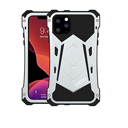 iPhone 11 Pro Max-6.5'' Case, R-JUST Heavy Duty Full Aluminum Metal Bumper Shockproof Tough Armor Metal Back Case Cover Protection System (Silver, iPhone 11 Pro Max-6.5'')