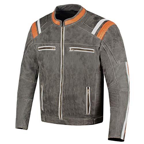 Men Classic Cruiser Street Motorcycle Distress Leather CE Armor Biker Jacket L