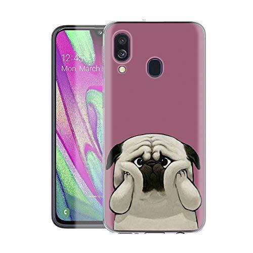 Pnakqil Hülle kompatibel mit Samsung Galaxy A40 Phone,Silikon Schutzhülle TPU Clear Transparent Kratzfest Ultra Dünn Stoßfest Muster Handyhülle für Samsung Galaxy A40,H& 03