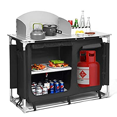 Giantex Portable Camping Kitchen Table, Camping Grill Table w/Windscreen & Storage Organizer, Outdoor Kitchen Cook Station with Basin for BBQ, Party, Picnics, Backyards, BBQ Table (Black)