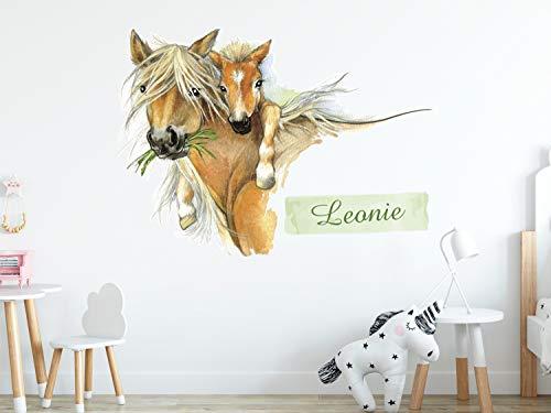 Wandtattoo Pferd mit Fohlen - Dein Name - Pferdekopf in Braun - süßes Geschenk an Mädchen Wandaufkleber Wandsticker (69x50cm)