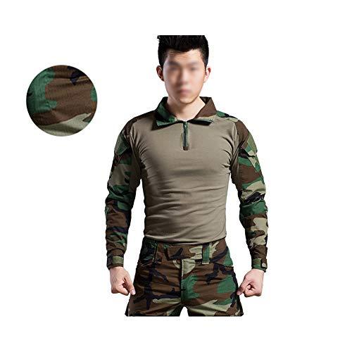 QWET Military Rapid Assault Tactical Slim Fit Top met lange mouwen en broeken, 1/4 Zip Neck Jacht Shirt (Jungle Camouflage)
