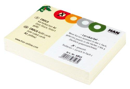 HAN Karteikarten für CROCO Lernkartei, 190 g/m², gelb, liniert (A7 / 500 Stück)