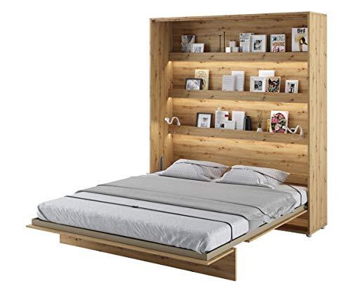 Schrankbett Bed Concept, Wandklappbett mit Lattenrost, V-Bett, Wandbett Bettschrank Schrank mit integriertem Klappbett Funktionsbett (BC-13, 180 x 200 cm, Artisan Eiche, Vertical)