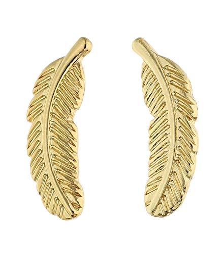 SIX Pendientes chapados en oro con diseño de pluma para mujer (647-739)