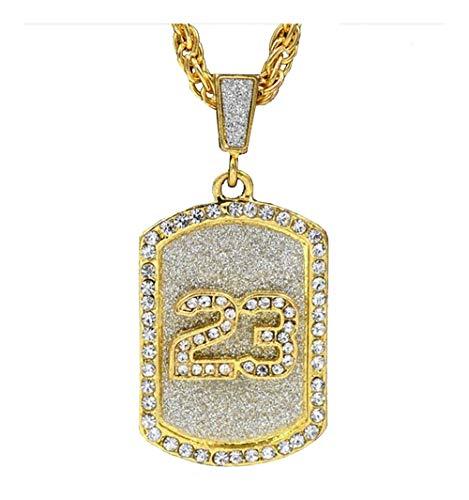 AdorabFruit Présent Pendentif Crystal Baloncesto Leyenda Cadena 23 Pandents Collares del Oro de Bling Cubana Collar joyería afortunada for el Hombre Regalo del Muchacho (Metal Color : Gold)