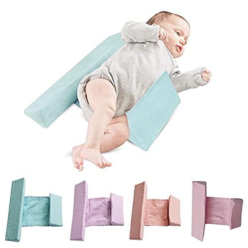ベビー枕 寝返り防止 寝返り防止クッション 、うつ伏せ防止、赤ちゃん クッション 長さ調整可能 嘔吐防止ミルク 乾燥してべたつかない クッション 向き癖 洗える ママも安心 新生児 3歳ごろまで 窒息防止 (ターコイズ)