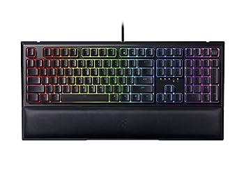 Razer Ornata V2 Gaming Keyboard  Hybrid Mechanical Key Switches - Customizable Chroma RGB Lighting - Individually Backlit Keys - Detachable Plush Wrist Rest - Programmable Macros  Renewed
