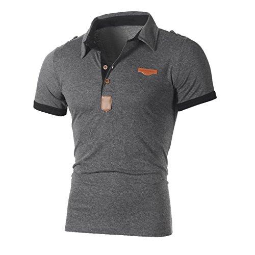 T-Shirts,Honestyi 2018 Neueste Modell Herren Poloshirt Kurzarm Klassisches Basic T-Shir hochwertigem Single Jersey Stoff Sweatshirt Kurzarmshirt blusen Tops Streetwear M-XXL (M, Grau)