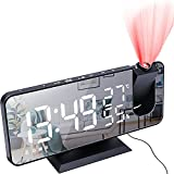 Projection Digital Alarm Clock Loud LED Big Display Clock with USB Charging Port, Adjustable Volume, Easy Snooze Function, Modern Mirror Desk Wall Clock for Bedroom Home Office for All People