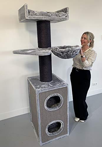 RHRQuality Kratzbaum Grosse Katzen stabil Maine Coon Tower Box Comfort Blackline Hell Grau mit stamme 20cmØ