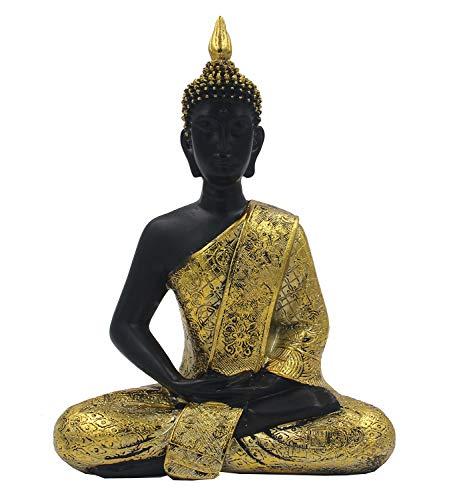 DharmaObjects Golden 11 Inches Thai Buddha Meditating Peace Harmony Statue
