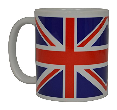 Rogue River Tactical Best Coffee Mug UK Union Jack British Flag Novelty Cup Great Gift Idea For Men Women United Kingdom,White