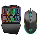 Bascar Juego de teclado y ratón para juegos, HXSJ J100 A866, teclado y ratón, retroiluminación LED, 35 teclas, mini USB, teclado y ratón