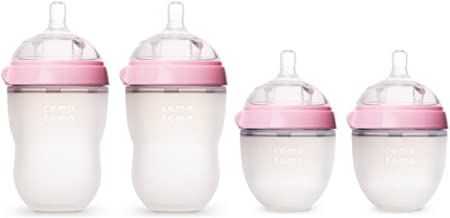 Comotomo 5 oz and 8 oz Baby Bottles, 4 Pack (Pink)