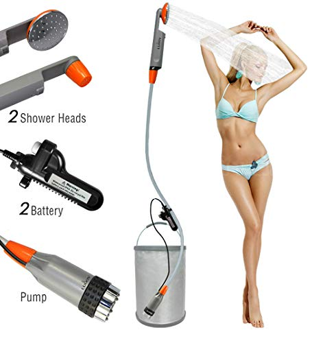 FLYFISH Portable Camping Shower, Compact Shower Pump with Dual Detachable USB Rechargeable Batteries, Handheld Outdoor Shower Head for Camping, Hiking, Traveling, Emergency Use (2019