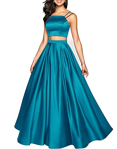 Rjer Two Pieces Prom Dresses Long A Line Satin Bridesmaid Evening Gowns for Women 2019 Teal Size 2