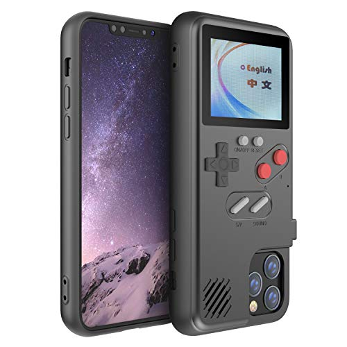 Gameboy Case for iPhone, Autbye Retro 3D Phone Case Game Console with 36 Classic Game, Color Display Shockproof Video Game Phone Case for iPhone (for iPhone 11, Black)
