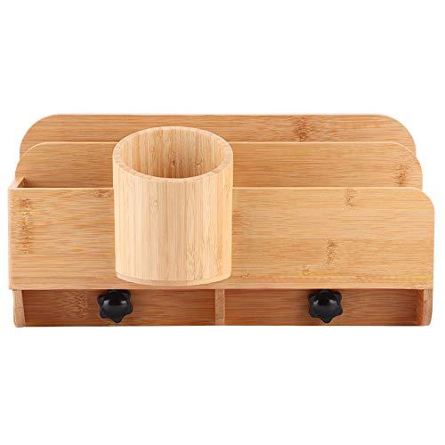 Caja de almacenamiento organizadora de cajones de bambú, caja de almacenamiento organizadora de escritorio multifunción, accesorios de escritorio adecuados para la escuela, la oficina