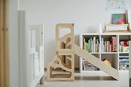 Niños Aprendizaje Torre 3 en 1 Taburete de Escritorio Slide Montessori Muebles de Cocina Ayudante Plegable