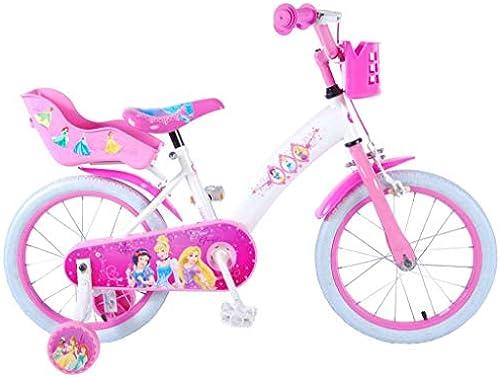 Disney Kinderfürrad mädchen fürrad Princess 16 Zoll mit Vorradbremse und Rücktrittbremse am Lenker WeißRosa 85% Zusammengebaut