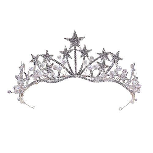 WZHZJ Kopfbedeckung-Prinzessin Haar Crown Handgemachte künstliche Strass Brautkrone Hochzeit Tiaras Haarschmuck