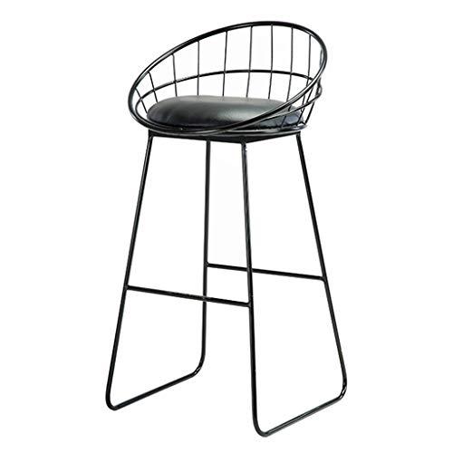 Moderna svarta barstolar, stol från mitten av århundradet med rygg, hemkök sidostol, läderutseende, svarta metallben, sitthöjd 75 cm