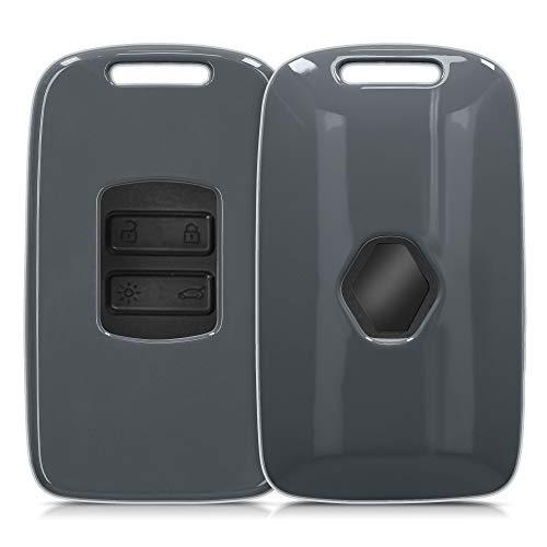 kwmobile Autoschlüssel Hülle kompatibel mit Renault 4-Tasten Smartkey Autoschlüssel (nur Keyless Go) - Hardcover Schutzhülle Schlüsselhülle Cover in Anthrazit