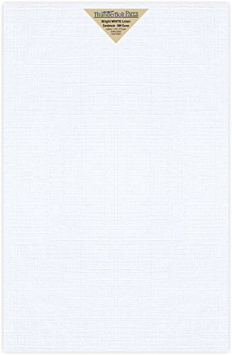 50 Bright White Linen 80# Cover Paper Sheets - 11