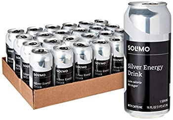 Amazon Brand - Solimo Silver Energy Drink Sugar Free 16 Fluid Ounce  Pack of 24