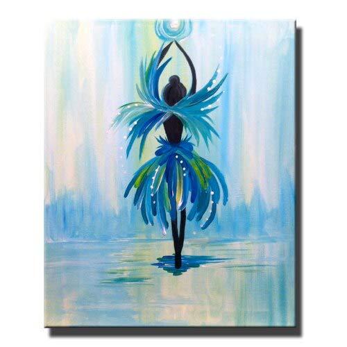 Wjwiang vrouwelijk doek aan de muur geschilderd danseres muurkunst canvasdruk woonkamer poster decoratie 60x90cm unframed Pc6438