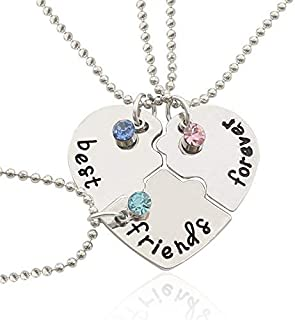 Best Friends Forever and Ever Necklace Set - Inlaid Rhinestones - Best Friend Gift Necklace