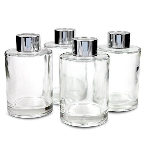 Frandy House Difusor de botellas de cristal con tapas, juego de 4 – 4.2 pulgadas de alto, 120 ml 4.5 oz. Accesorios de fragancia Uso para DIY Reed Difusor de juntas.
