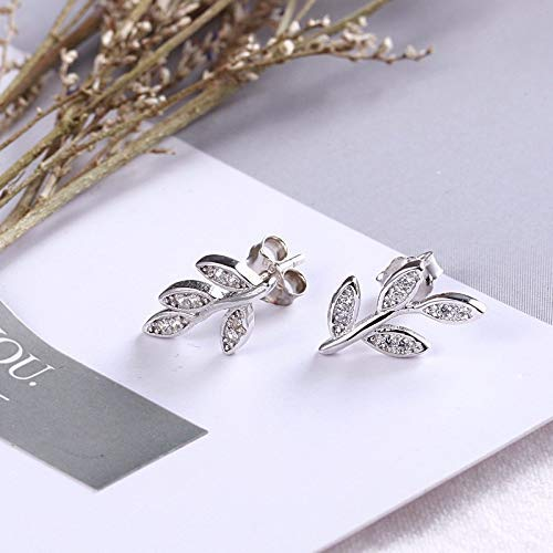 Y-Longhair Zircon Pflanze S925 Sterling Silber-Blätter mit Diamanten Olive Branch Xiao Qingsen Damen-Ohrringe Nette Wilde Einfach, Rose Gold