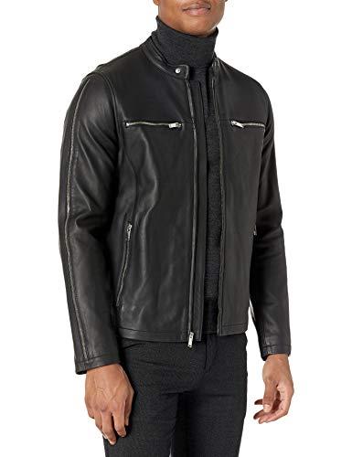 KARL LAGERFELD Paris Herren Leather Moto Jacket Lederjacke, schwarz, Medium