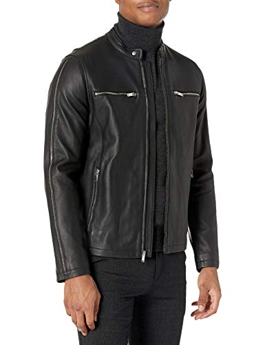 Karl Lagerfeld Paris Herren Leather Moto Jacket Lederjacke, schwarz, Mittel